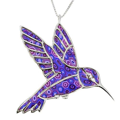 Hummingbird Pendant Sterling (925 Sterling Silver Hummingbird Necklace Pendant Handmade Purple Polymer Clay Bird Jewelry, 16.5