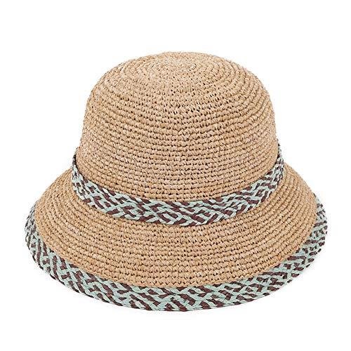 WUSHIYU Women's Straw hat Women's Sunscreen Foldable Wide-Brimmed Beach Hat Summer UV Protection Sun Protection Cap Sun Protection Straw hat,Women Sun Hat,Women's Be (Color : Blue -