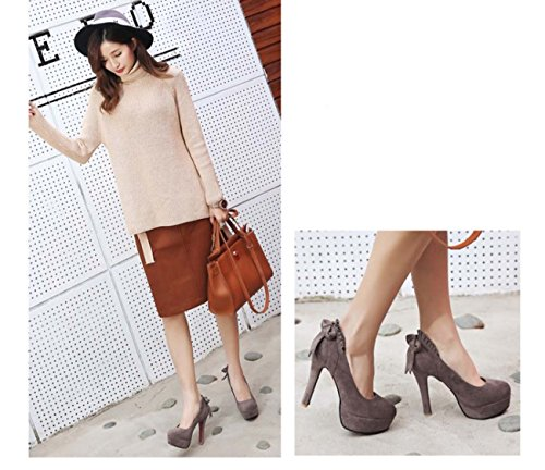 Cone Casual Dressing Wedding Heel Brown Shoes Mouth Platform Shoes Bow Shoes Shallow qfRf76