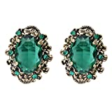 BriLove Women's Victorian Style Crystal Floral Scroll Cameo Inspired Oval Stud Earrings