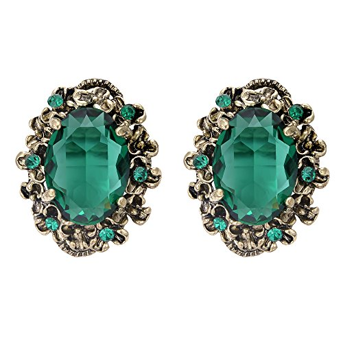 - BriLove Victorian Style Stud Earrings for Women Crystal Floral Scroll Cameo Inspired Oval Earrings Emerald Color Antique-Gold-Toned