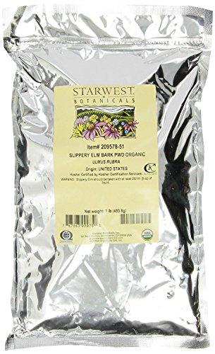 Bulk Slippery Elm (Starwest Botanicals Organic Slippery Elm Bark Powder, 1 lb Bag (Pack of 2), Ulmus Rubra)
