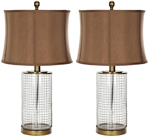 Safavieh Lighting Collection Aerie Brown Glass 26.5-inch Table Lamp (Set of (Brown Glass Table Lamp)