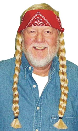 UHC Men's Hippie Willie Blonde Wig w/ Bandana Halloween Costume Accessory]()