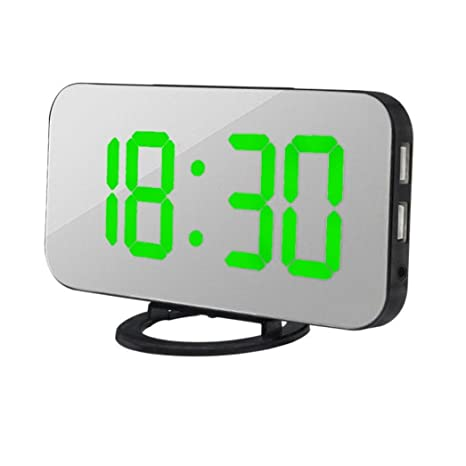 Exteren - Reloj Despertador Digital LED con Puerto USB para Cargador de teléfono, Activado por
