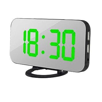 Exteren - Reloj Despertador Digital LED con Puerto USB para Cargador de teléfono, Activado por Contacto: Amazon.es: Hogar