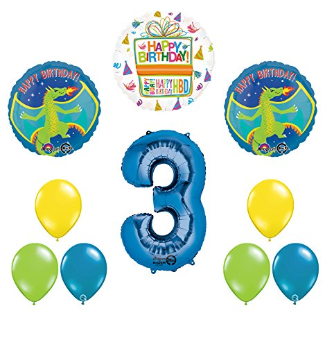 Dragon 3rd Birthday Party Supplies and Balloon Decoration -