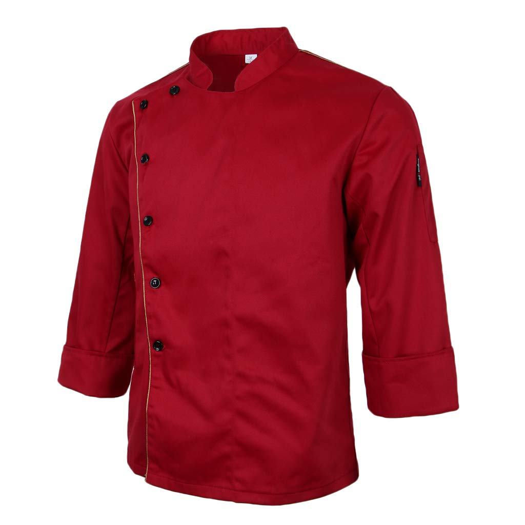P Prettyia Unisex Costume da Cuoco Manica Lunga Semplice Professionale Comodi Uniforme da Chef