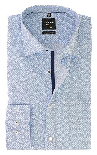 OLYMP Serie No. 6 SIX Super Slim Herren BusinessHemd Bleu Blau Urban Kent Kragen Comfort Stretch Gr.43 - Bügelleicht