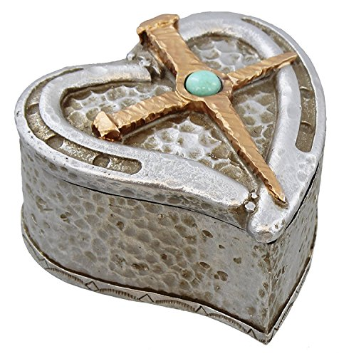 Rustic Hammered Silver & Copper Look Heart & Cross Trinket Box