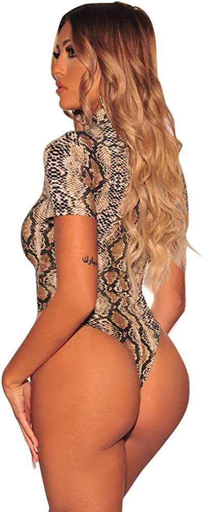 Fandecie Mujer Body Patr/ón de Serpiente Escotado por Detr/ás Manga Corta Blusas