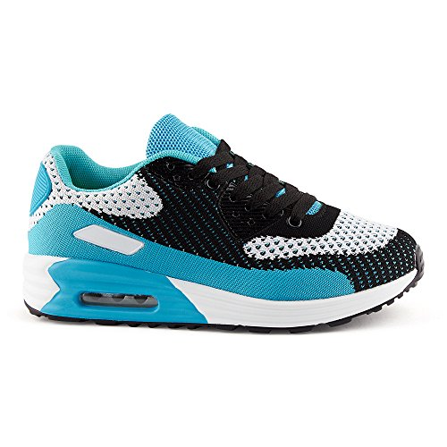 FiveSix Herren Damen Sneaker Sportschuhe Laufschuhe Freizeitschuhe Dämpfung Strick Schnürschuhe Low-Top Unisex Schuhe Schwarz/Grau/Blau-W