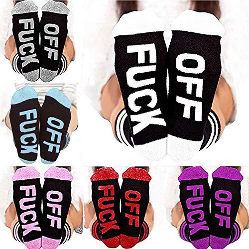 Funny Socks for Women Men,Aniwon 7 Pair Unisex Cotton Letter Print FUCK OFF Crew Socks
