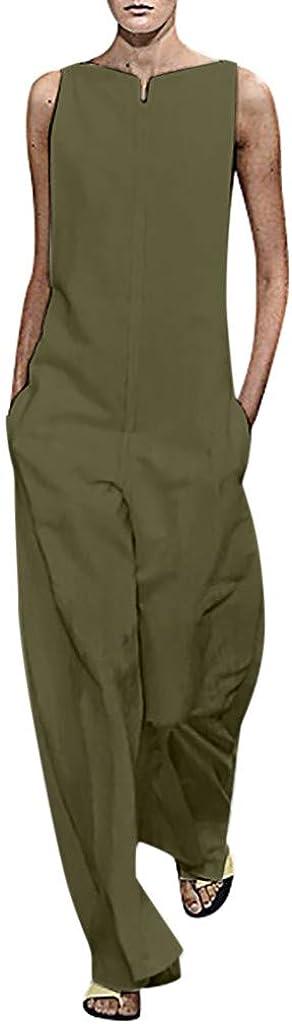 Pantaloni Harem con Tasche Senza Maniche in Cotone e Lino Saihui/_Women Jumpsuits Tuta Intera da Donna a Gamba Larga Tuta Estiva in Tinta Unita