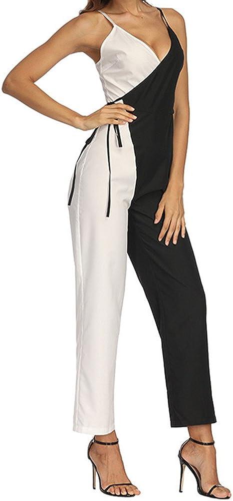FAMILIZO Monos Mujer Fiesta Elegantes Cortos Verano Monos Mujer Largos Ajustado Mujer Color Que Empareja Sin Mangas Mono Casual Clubwear Pantalones Anchos De Pierna