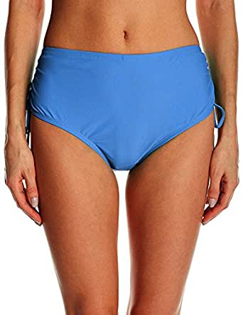 Ducone Women's Side Shirred Adjustable High Waist Bikini Bottom Blue Size Small