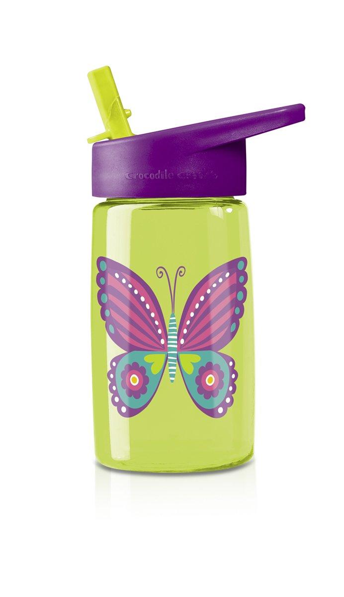 Crocodile Creek Girls Eco Butterfly Flip Straw Tritan Drinking Bottle, Green, 7''