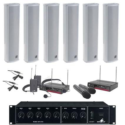 Kit de altavoces de columna 100V, con Amplificador, Cable & 4 Micrófonos Inalámbricos
