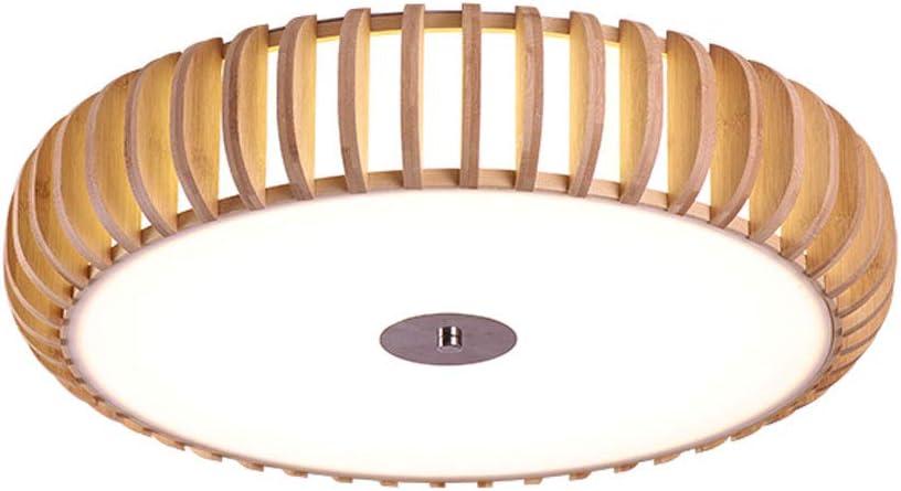 レトロクリエイティブラウンドのログシーリングライトウッドカラーシーリングライトは、ベッドルームのために暖かいランプを学ぶ屋内LEDを44cmの 316 (Color : Natural color, Size : 17.3inch)