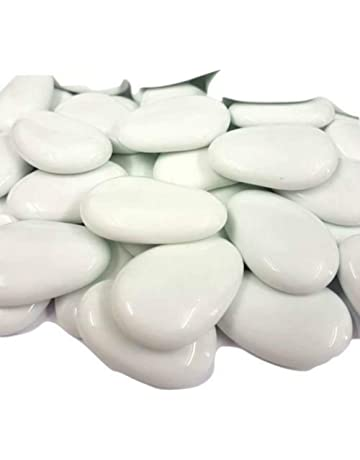 STONEDR 20 White Flat Glass Pebbles Nuggets Stones Beads Home