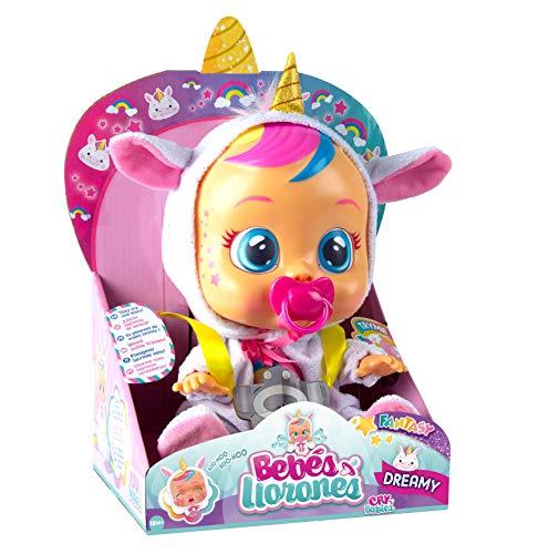 Bebés Llorones Fantasy Dreamy Unicornio – Muñeca interactiva que llora de verdad con chupete y pijama brillante de…