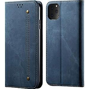 Pirum® Luxury Denim Flip Cover for Apple iPhone 11 Pro Max Magnetic Case Folio with Card Holder (Blue)