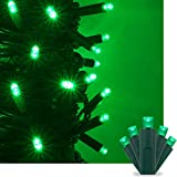 Green LED Christmas Mini String Light Set, 50 5mm Lights, Indoor / Outdoor Christmas Light Decorations, 120V UL Certified, Green Wire