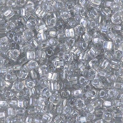 (Miyuki Triangle Beads 8/0 Sparkle Silver Gray Lined Crystal 10 grams)