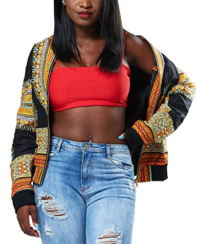 90's Jackets - Remelon Womens Casual Hipster Graphic Print Long Sleeve Lightweight Short Bomber Jacket Black L