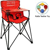 ciao baby - Portable High Chair with Rattle Teether Toy - Red