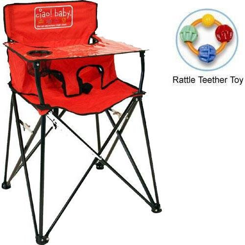 ciao baby - Portable High Chair with Rattle Teether Toy - Red by ciao! baby