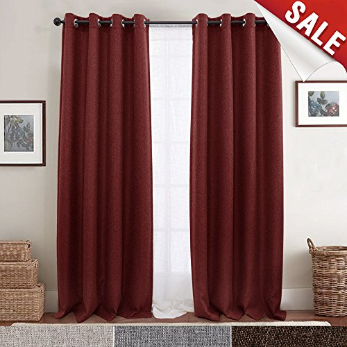 jinchan Blackout Curtains for Bedroom Linen Look Curtains for Living Room Grommet Room Darkening Window Curtain One Panel (84 Inch, Burgundy Red) (Sunroom Curtains)