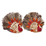 Grass Turkey Decorations Set of Two Mini Thanksgiving Tabletop Centerpiece