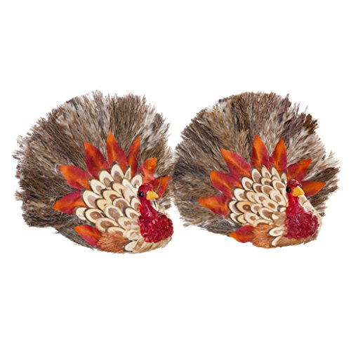 Grass Turkey Decorations Set of Two Mini Thanksgiving