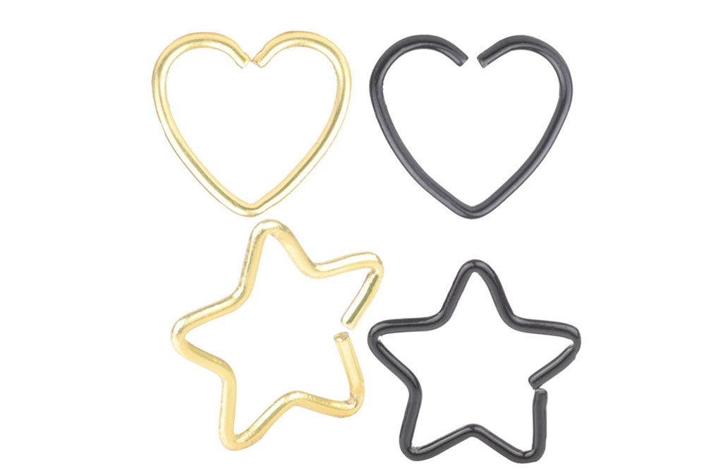 CM A+ 4 Pcs Mix Surgical Steel Heart& Star Shaped Lip Ear Nose Hoop Ring Earrings Clip Non Piercing Jewelry &4