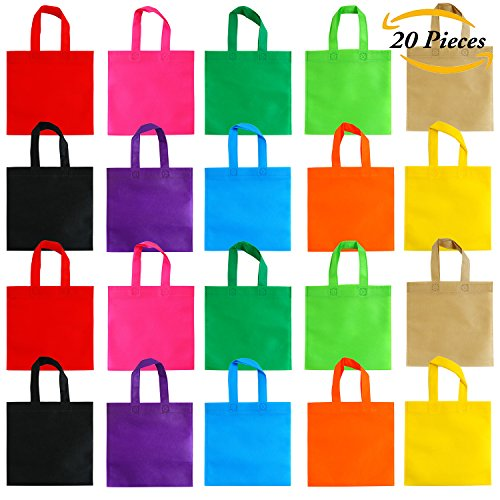 Top Aneco 20 Pack 10 by 10 Inch Party Bags Non-woven Tote Bags Gift Bag with Handles Goodie Treat Bag for Party Favor Kids Birthday Gifts, 10 Colors free shipping