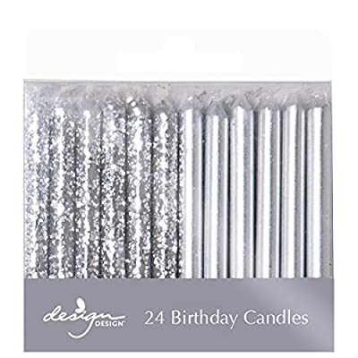 "Design Design 756-07879 Metallic Birthday Candles, 1/4 x 2 3/8"", Silver: Kitchen & Dining"