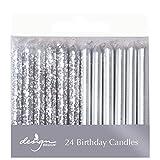 Design Design Metallic Birthday Candles, Silver