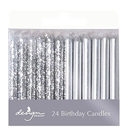 Amazon Design Metallic Birthday Candles Silver Kitchen