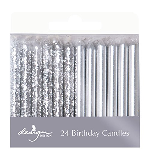 Design Design Metallic Birthday Candles, Silver