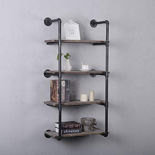 GWH Industrial Pipe Shelving Wall Mounted,24in Rustic Metal Floating Shelves,Steampunk Real Wood Book Shelves,Wall Shelf… 5