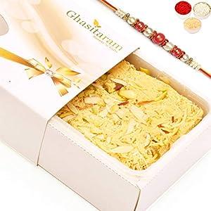 Ghasitaram Gifts Rakhi for Brother Rakhi Sweets – Soan Papdi (200 GMS) with Rakhi