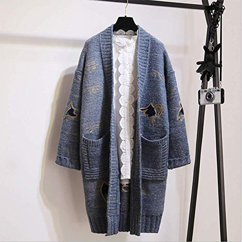 En La El Mujeres Suelto Suéter Abrigo Suéter Invierno Y Bordado V 3 Versión Las Coreana onesize De Cardigan Larga Escote Sección 5 Otoño qwpq6rvC