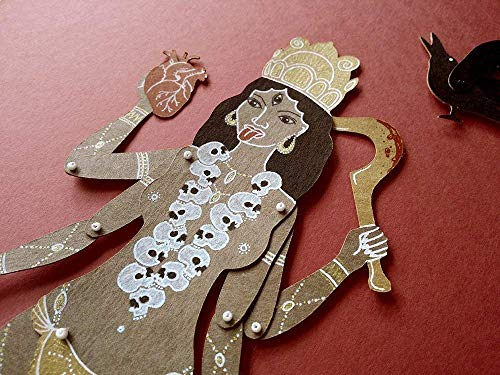 Kali articulated paper doll, hand painted indian goddess paper puppet with movable parts ()