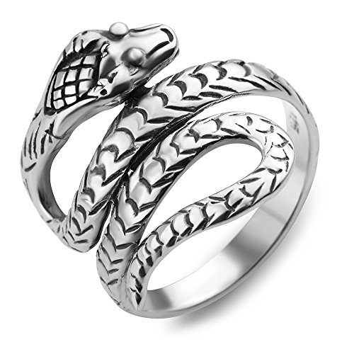 925 Oxidized Sterling Silver King Cobra Coil Snake Band Ring Men Women Unisex Size 6 (Ring Cobra)