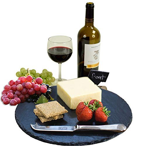 Natural Slate Cheese Board 12 Inch Platter Stone Round Serving Tray