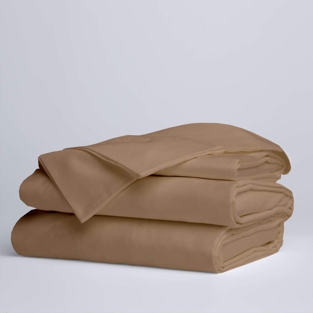 Today Offer Sheets Set 4 PCs, 100% Egyptian Cotton 400 Thread Count, Fitted Sheet fitt Upto 16 Inch Drop- Taupe Solid, Queen Size. by Sleepwell