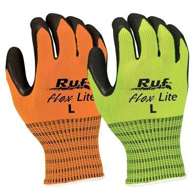 Lite Flex Gloves - NS Ruf-Flex Lite Hi-Vis Rubber Palm Coated String Knit Gloves, Hi-Vis Orange, X-Lage (24 Pack)