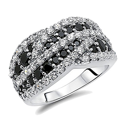 Double Accent Sterling Silver Rhodium Plated, Wedding Ring Round Black & White CZ Anniversary Ring Wedding Band by Double Accent