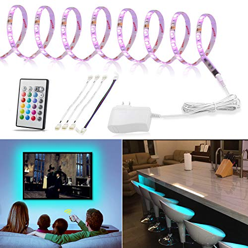 (LED Strip Light 9.8ft, TV Bias Lighting for 50 to 75 inch HDTV, Multicolor Light Strip with Remote and 12V Adapter, RGB Backlight for Under Cabinet,Shelf,Kitchen,Home Theater, 3 Meter Color Changing)